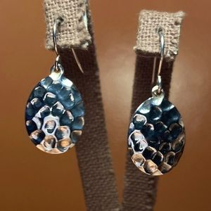 Sterling Silver Hammered Honeycomb Disc Earrings